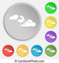 plat, buttons., soleil, symbole, derrière, vecteur, huit, signe., nuage, icône