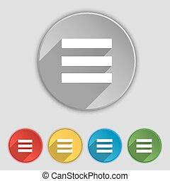 plat, buttons., teken., tekst, align, breedte, vector, vijf,...