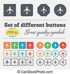 plat, buttons., vlucht, groot, reizen, symbool., schaaf, kleurrijke, teken., vector, label., anders, high-quality, set, icon., vliegtuig