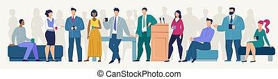 plat, café, affaires cassent, vecteur, pendant, réunion