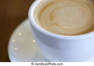 plat, café, chaud, bois, table, blanc