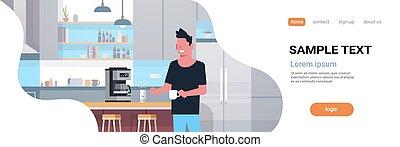 plat, café, concept, contrôlé, espace, moderne, machine,...