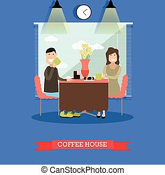 plat, café, concept, maison, style, illustration, vecteur