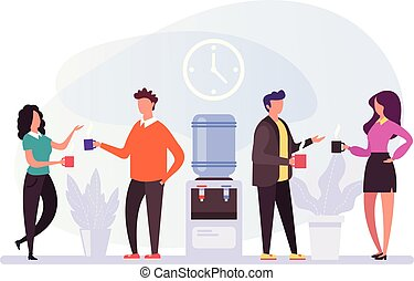 plat, café, graphique, bureau, professionnels, concept., vie, isolé, illustration, avoir, coupure, vecteur, lunch., caractères, temps, conception, dessin animé