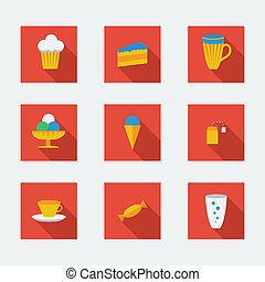 plat, café, icônes