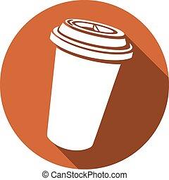 plat, café, papier, icône, tasse