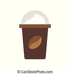 plat, café, style, apparenté, vecteur, aller, icône