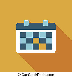 plat, calendrier, ombre, long, icône