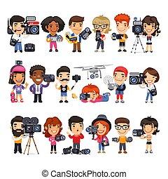 plat, cameramans, dessin animé, caractères