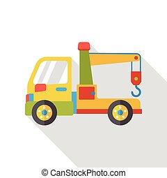 plat, camion, remorquage, icône