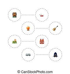 plat, camp, sauveteur, elements., icônes, ensemble, balefire, brûler, caravane, inclut, symboles, aussi, vecteur, bateau, objects., autre, bateau