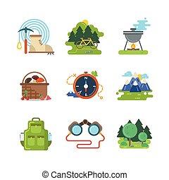 plat, camping, extérieur, vecteur, icônes