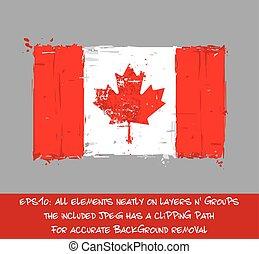 plat, canadees, slagen, -, vlag, plonsen, artistiek, borstel
