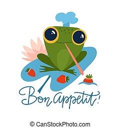 plat, caractère, illustration, blanc, vecteur, appetit., grenouille, fraises, arrière-plan., rigolote, isolé, cap., dessin animé, tient, chef, mignon, lettrage, citation, bon