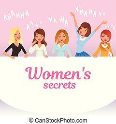 plat, caractères, loudly, secrets, gens., filles, jeune, dessin animé, rire., expressions., s, vecteur, conception, femme, émotif, sourire, joli, facial, concept., femmes