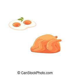plat, carcasse, vecteur, poulet, oeuf frit