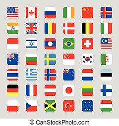 plat, carrée, arrondi, collection, drapeau, vecteur, illustration, icône