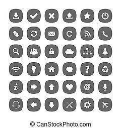 plat, carrée, arrondi, gris, icônes