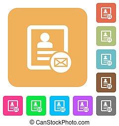 plat, carrée, arrondi, icônes, contact, message