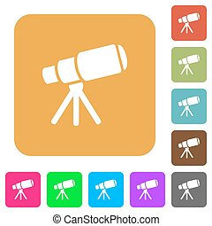 plat, carrée, arrondi, télescope, espace, icônes