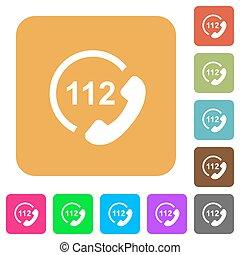 plat, carrée, arrondi, urgence, icônes, appeler, 112