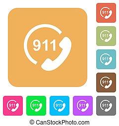 plat, carrée, arrondi, urgence, icônes, appeler 911