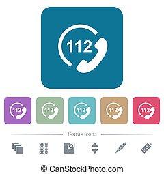 plat, carrée, arrondi, urgence, icônes, couleur, arrière-plans, appeler, 112