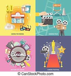plat, carrée, cinéma, icônes, 4, composition