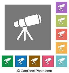 plat, carrée, espace, télescope, icônes
