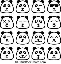 plat, carrée, faces, émotif, emoji, panda, icône