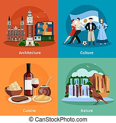 plat, carrée, icônes, attractions, 4, argentine