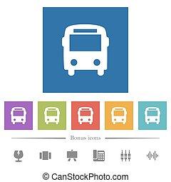 plat, carrée, icônes, autobus, arrière-plans, blanc