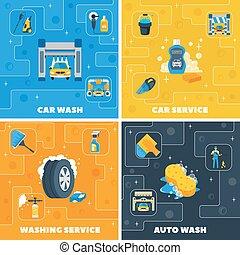 plat, carrée, icônes, lavage voiture, 4