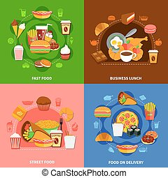 plat, carrée, icônes, nourriture, jeûne, 4