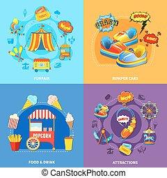 plat, carrée, icônes, parc, 4, amusement