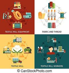 plat, carrée, icônes, textile, 4, moulin