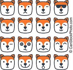 plat, carrée, renard, faces, émotif, emoji, icône