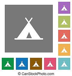 plat, carrée, tente, icônes