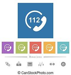 plat, carrée, urgence, icônes, arrière-plans, appeler, 112, blanc