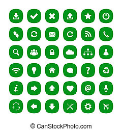 plat, carrée, vert, arrondi, icônes