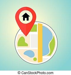 plat, carte, à, maison, pin., vecteur, emplacement, indicateur, icon., marqueurs, sur, les, map.