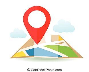 plat, carte, à, pin., vecteur, emplacement, indicateur, icon., marqueurs, sur, les, map.