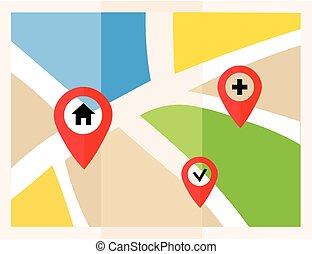 plat, carte, à, pins., vecteur, emplacement, indicateur, icon., marqueurs, sur, les, map.