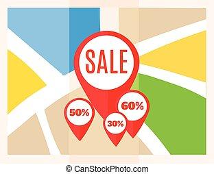 plat, carte, map., vente, marqueurs, vecteur, emplacement, icon., indicateur, pins.
