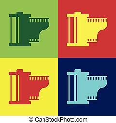 plat, cartouche, bobine, couleur, photographe, backgrounds., equipment., isolé, illustration, filmstrip, 35mm, vecteur, canister., vendange, icon., icône, appareil photo, rouleau, pellicule, design.