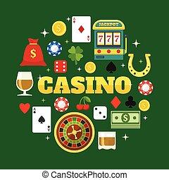 plat, casino, communie, set, iconen