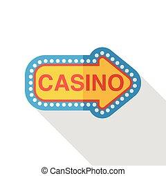 plat, casino teken, pictogram
