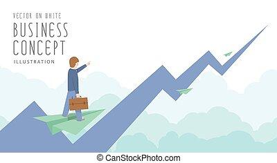 plat, cavalcade, avion, papier, vector., homme affaires, sommet, marché, stockage