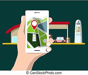 plat, cellphone, navigation., auto, gas, symbool., ...