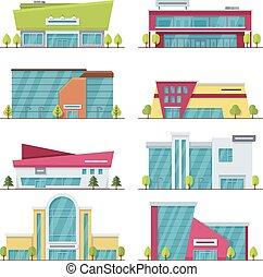 plat, centre, achats, moderne, bâtiments, supermarché, centre commercial, vecteur